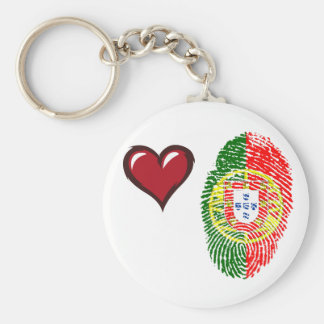 Portuguese touch fingerprint flag basic round button keychain