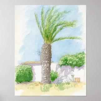 Portuguese tree and villa poster