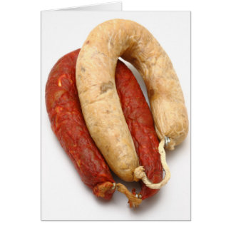 Portuguese typical sausages greeting card