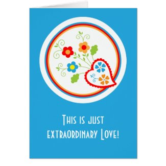 Portuguese Valentine heart with flowers Card