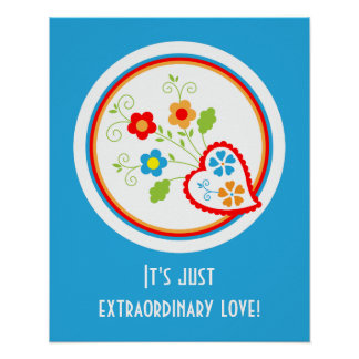 Portuguese Valentine heart with flowers Print