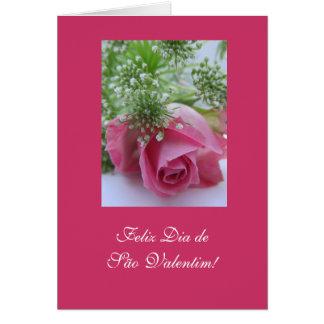 Portuguese: Valentine's Day/ Rosa / São Valentim Card