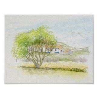 Portuguese villa and tree poster