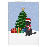 Portuguese Water Dog and Christmas Tree Card
