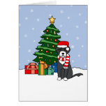 Portuguese Water Dog and Christmas Tree Greeting Card