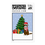 Portuguese Water Dog and Christmas Tree Postage