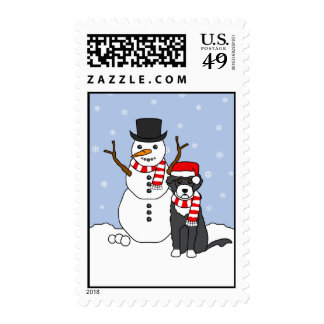 Portuguese Water Dog and Snowman Postage Stamps