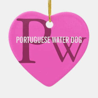 Portuguese Water Dog Breed Monogram Double-Sided Heart Ceramic Christmas Ornament