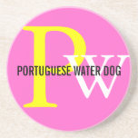 Portuguese Water Dog Breed Monogram Drink Coaster