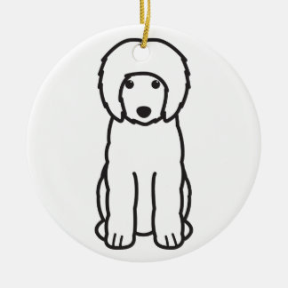 Portuguese Water Dog Cartoon Double-Sided Ceramic Round Christmas Ornament