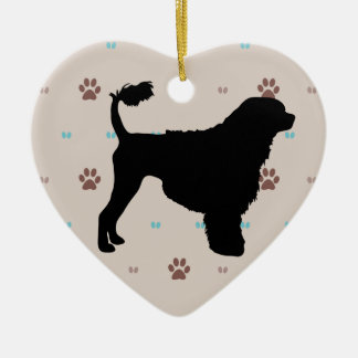 Portuguese Water Dog Double-Sided Heart Ceramic Christmas Ornament