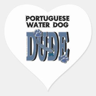 Portuguese Water Dog DUDE Heart Sticker