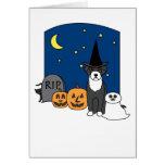 Portuguese Water Dog Halloween Greeting Card