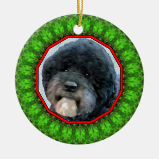 Portuguese Water Dog Happy Howliday Double-Sided Ceramic Round Christmas Ornament