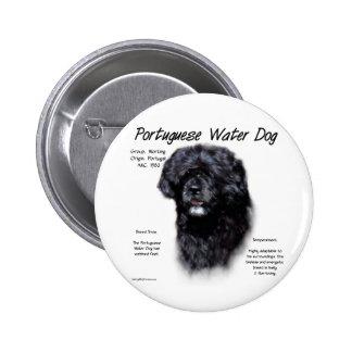 Portuguese Water Dog History Design Pinback Button