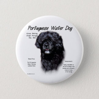 Portuguese Water Dog History Design Pinback Button