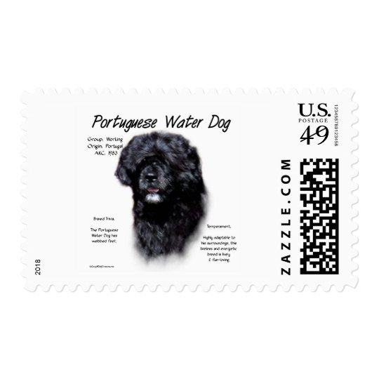 Portuguese Water Dog History Design Postage