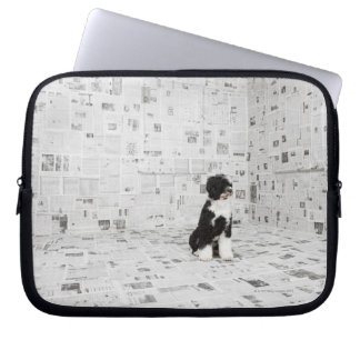 Portuguese Water Dog in room covered in Laptop Sleeve