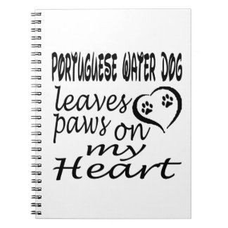 Portuguese Water Dog Leaves Paw On My Heart Spiral Notebook