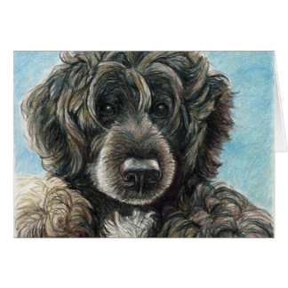 Portuguese Water Dog Original Art Notecard Stationery Note Card