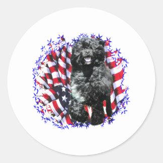 Portuguese Water Dog Patriot Classic Round Sticker