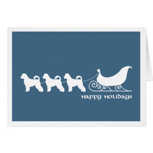 Portuguese Water Dog Pulling Santa's Sleigh Greeting Card