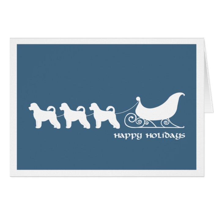 Portuguese Water Dog Pulling Santa's Sleigh Card