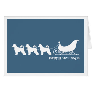 Portuguese Water Dog Pulling Santa's Sleigh Greeting Card