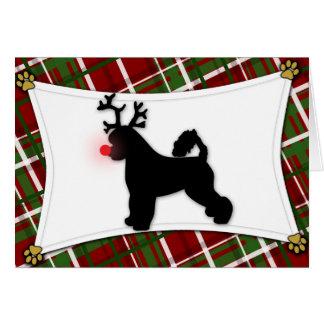 Portuguese Water Dog Reindeer Christmas Card
