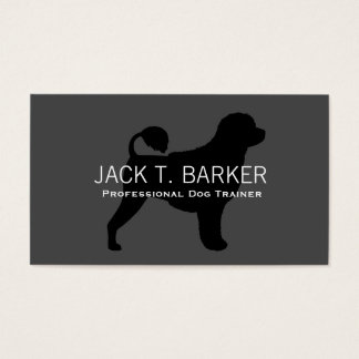 Portuguese Water Dog Silhouette Black on Grey Business Card