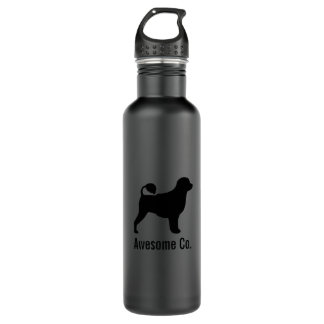 Portuguese Water Dog Silhouette with Custom Text Water Bottle