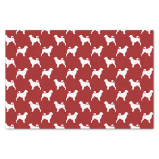 "Portuguese Water Dog Silhouettes Pattern Red 10"" X 15"" Tissue Paper"