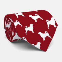 Portuguese Water Dog Silhouettes Pattern Red Neck Tie