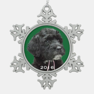 Portuguese Water Dog Snowflake Ornament Green