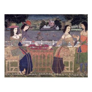 Portuguese women eating a meal, Goa Postcard