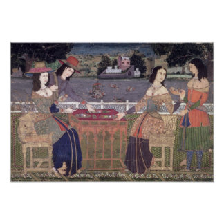 Portuguese women eating a meal, Goa Poster