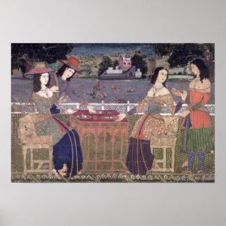 Portuguese women eating a meal, Goa Print
