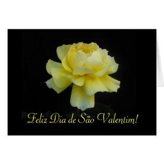 Portuguese: Yellow rose- Dia de São Valentim Card