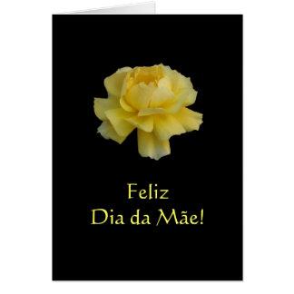 Portuguese: Yellow rose-Mom's Day/ Dia da mae Card