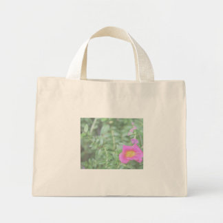 Portulaca dark pink flower green back faded canvas bag