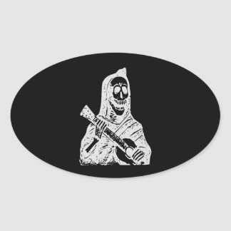 Posada Calavera Guitar Oval Sticker