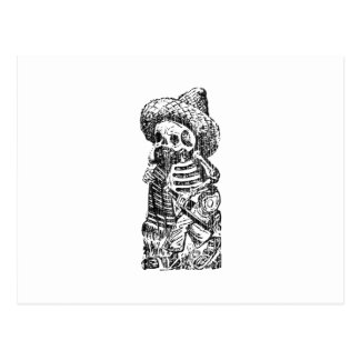 Posada Calavera with Mustache and Tequila Postcard