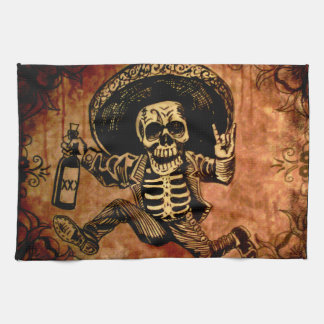 Posada day of the dead Outlaw kitchen towel