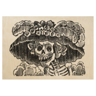 Posada Skull catrina Letterpress Landscape Wood Poster