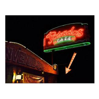 Posados Cafe Neon Sign Postcard