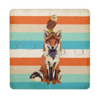 Posavasos de puzzle ambarinos del Fox y del búho