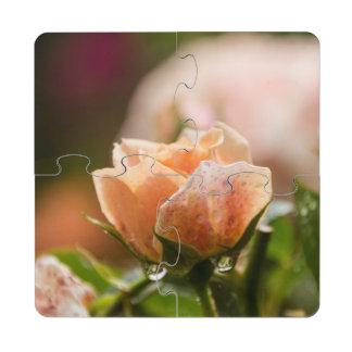 Posavasos de puzzle color de rosa rosados
