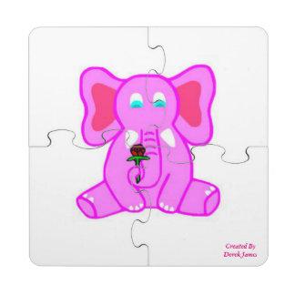 Posavasos de puzzle del elefante rosado