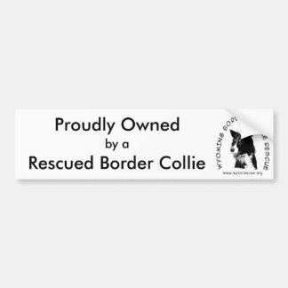 Poseído orgulloso por un border collie rescatado etiqueta de parachoque