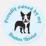 Poseído orgulloso por una Boston Terrier Etiquetas Redondas